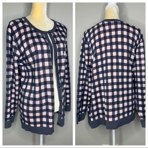CJ Banks Pink & Gray Checkered Sweater NEW 3X
